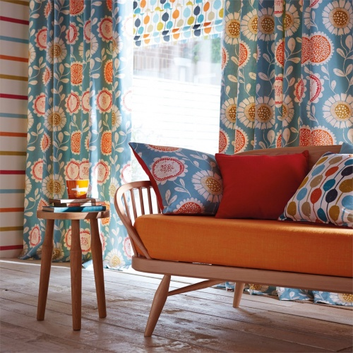Scion Anneke Sulphur/Tangerine/Chilli Curtain Fabric 120375