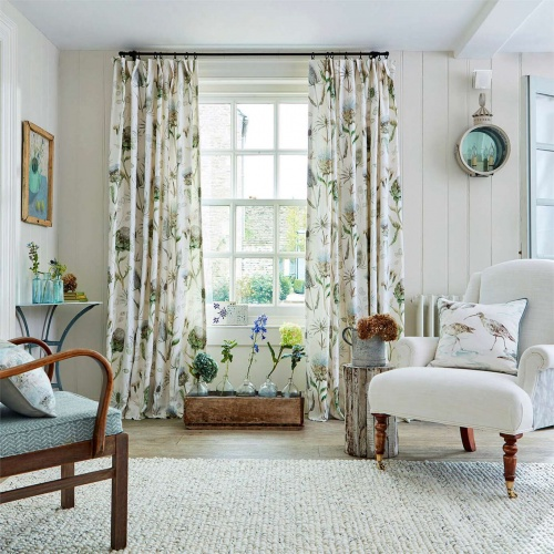 Sanderson Thistle Garden Mist/Pebble Curtain Fabric 226421