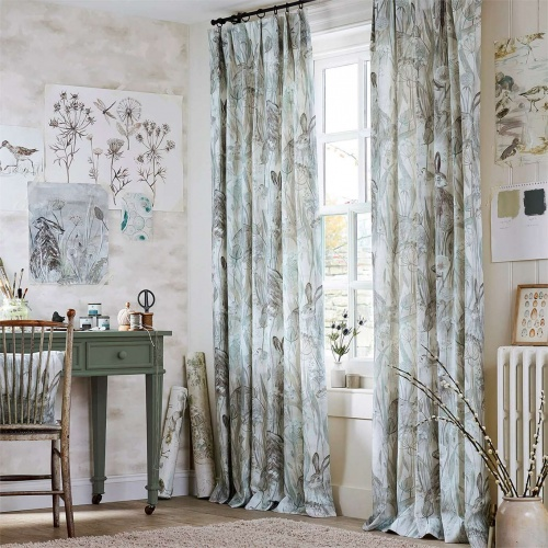 Sanderson Dune Hares Mist/Pebble Curtain Fabric 226436