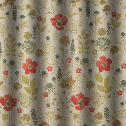 Chess Designs Meadow Poppy Curtain Fabric
