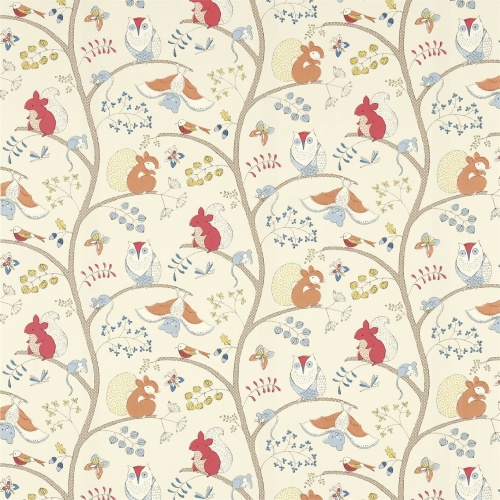 Sanderson Going Batty Red/Ginger Fabric 223898