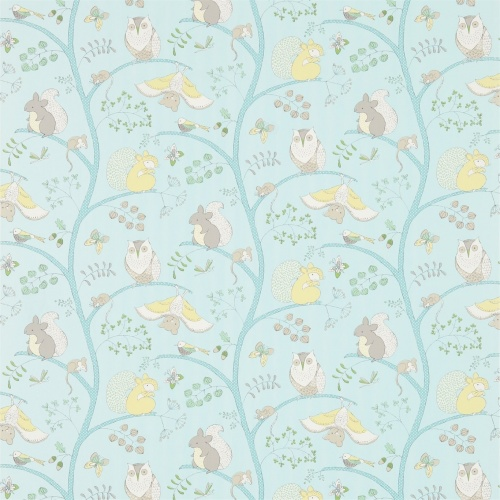 Sanderson Going Batty Sky Blue/Buttercup Fabric 223900