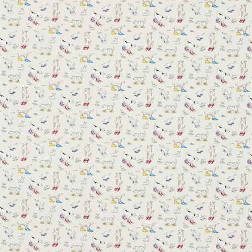 Sanderson Dogs in Clogs Rainbow Brights Fabric 223907