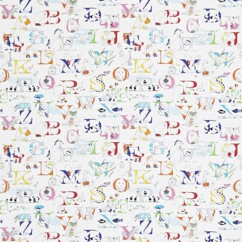 Sanderson Alphabet Zoo Rainbow Brights Fabric 223910