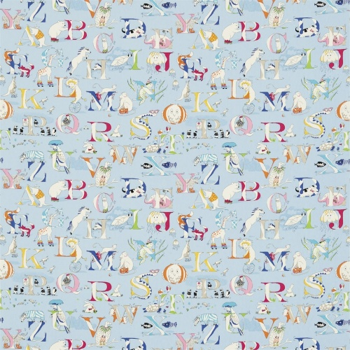 Sanderson Alphabet Zoo Powder Blue Fabric 223912