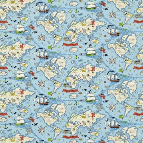 Sanderson Treasure Map Sea Blue Fabric 223914