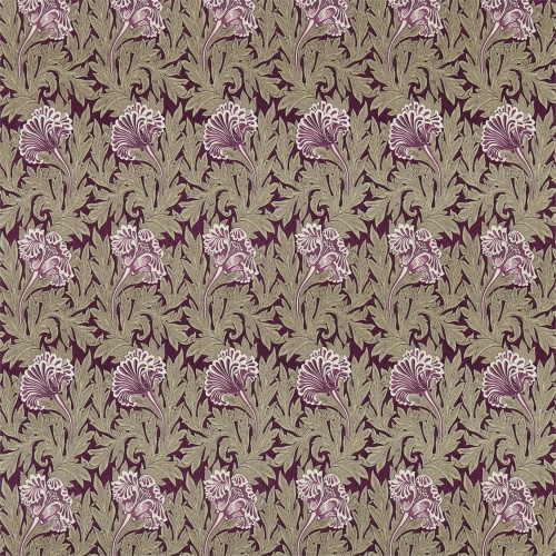 Morris & Co Tulip Heather/Olive Curtain Fabric 224459