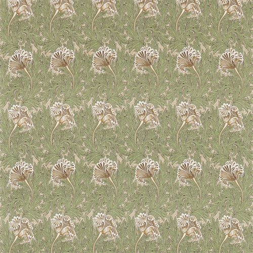 Morris & Co Tulip Artichoke/Gold Curtain Fabric 224461