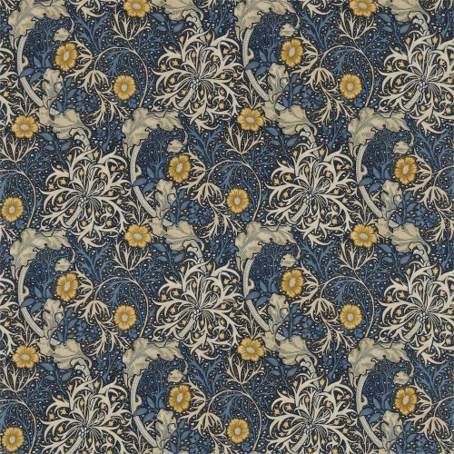 Morris & Co Morris Seaweed Ink/Woad Curtain Fabric 224470