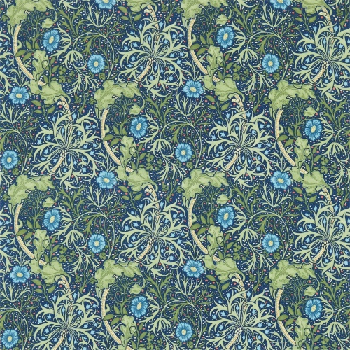 Morris & Co Morris Seaweed Cobalt/Thyme Curtain Fabric 224472