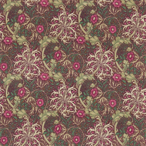 Morris & Co Morris Seaweed Aubergine/Bayleaf Curtain Fabric 224473