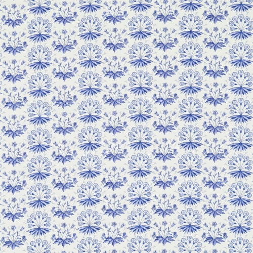 Morris & Co Primrose & Columbine Delft Blue Curtain Fabric 224483
