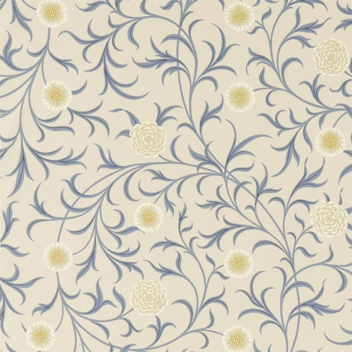 Morris & Co Scroll Parchment/Mineral Curtain Fabric 220307