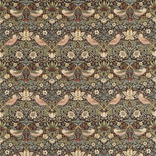 Morris & Co Strawberry Thief Chocolate/Slate Curtain Fabric 220311 & 226465