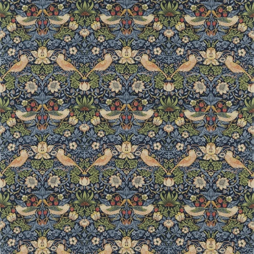 Morris & Co Strawberry Thief Indigo/Mineral Curtain Fabric 220313
