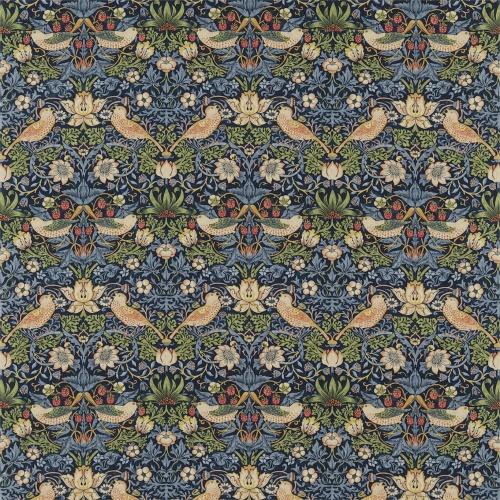 Morris & Co Strawberry Thief Indigo/Mineral Curtain Fabric 220313 & 226463