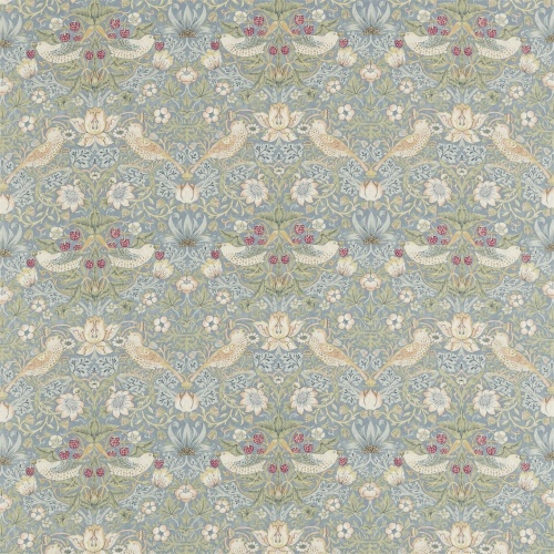 Morris & Co Strawberry Thief Slate/Vellum Curtain Fabric 220314 & 226464