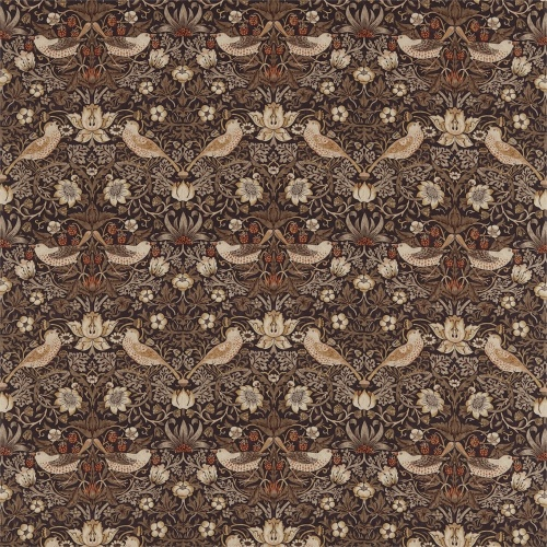 Morris & Co Strawberry Thief Grape/Gold Curtain Fabric 220315 & 226466