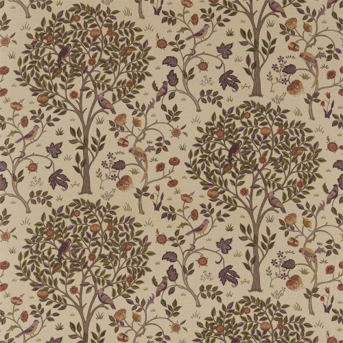 Morris & Co Kelmscott Tree Mulberry/Russet Curtain Fabric 220326