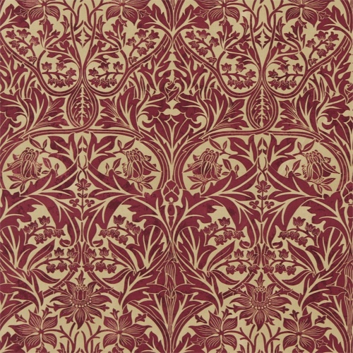 Morris & Co Bluebell Claret/Gold Curtain Fabric 220332