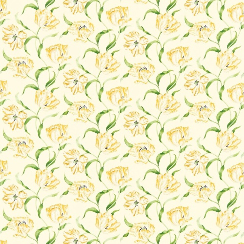 Sanderson Dancing Tulips Primrose/Green Curtain Fabric 221951