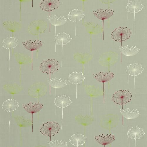 Sanderson Dandelion Clocks Embroidery Silver/Blackcurrant Fabric DOPEDA302
