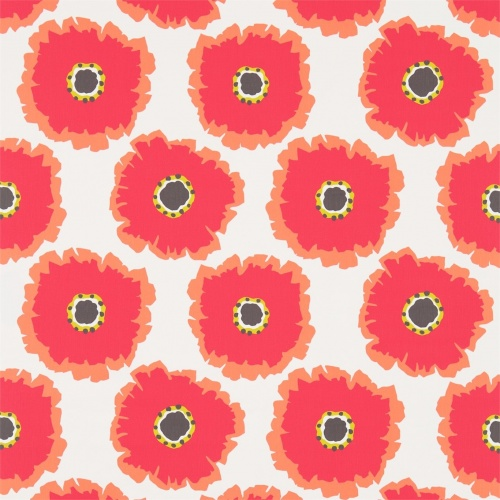 Sanderson Papavera Chalk/Coral Fabric 224611