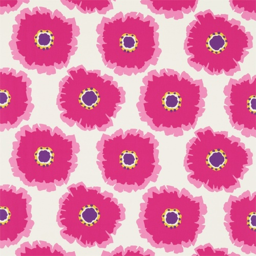 Sanderson Papavera Cream/Fuchsia Fabric 224613