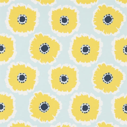 Sanderson Papavera Sky/Cadmium Fabric 224616