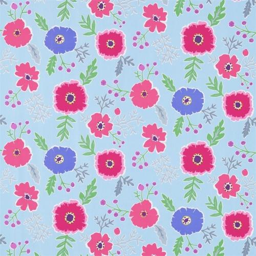 Sanderson Wind Poppies Powder Blue/Fuchsia Fabric 224619