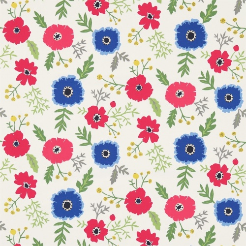 Sanderson Wind Poppies Marine/Crimson Fabric 224620