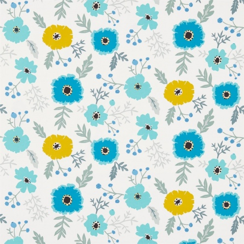 Sanderson Wind Poppies Cadmium/Teal Fabric 224621
