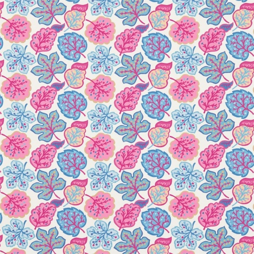 Sanderson Jewel Leaves Raspberry/Blue Fabric 224623