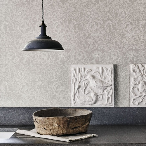 Morris & Co Pure Poppy Dove/Chalk Wallpaper 216032