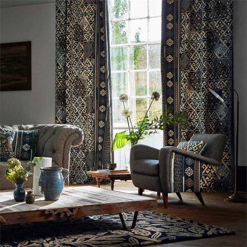 Morris & Co Burdock & Star Indigo Fabric 236519