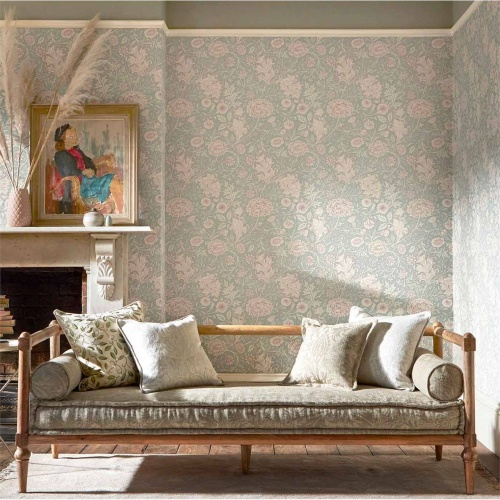 Morris & Co Double Bough Sage Linen Wallpaper 216680