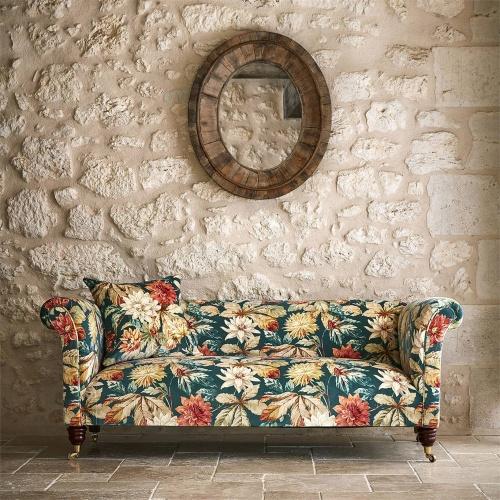 Sanderson Dahlia & Rosehip Velvet Teal/Russet Curtain Fabric 226533