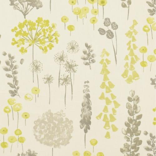 Gordon Smith Herbacious Lime Grey Curtain Fabric