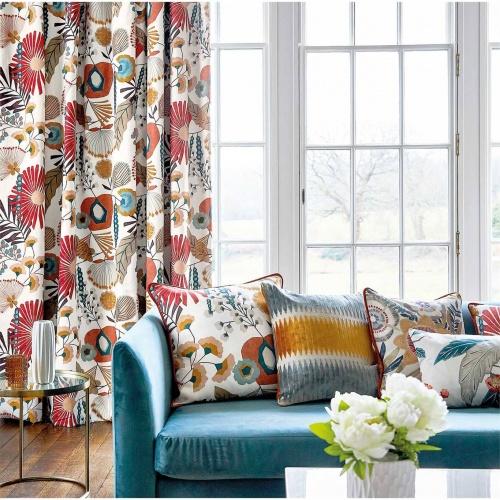 Harlequin Zavala Russet/Navy/Lagoon Curtain Fabric 120809
