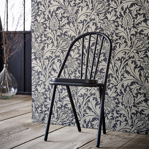 Morris & Co Pure Thistle Black Ink Wallpaper 216549