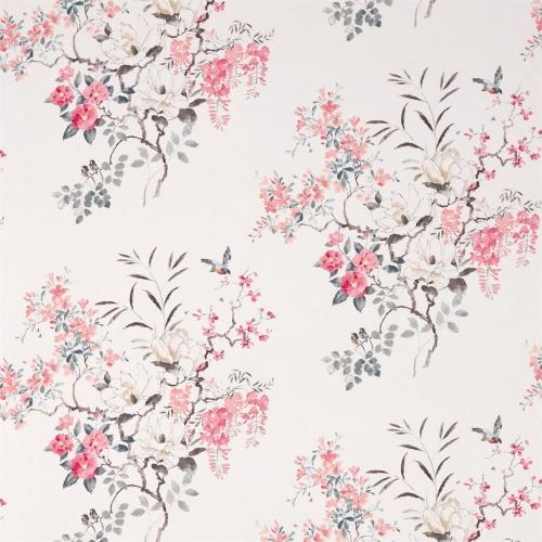 Sanderson Magnolia & Blossom Coral/Silver Fabric 226295
