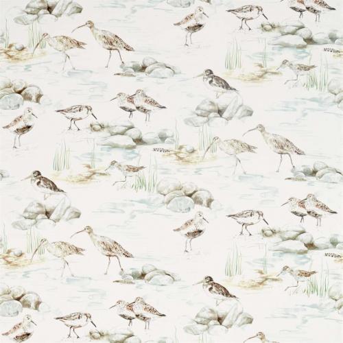 Sanderson Estuary Birds Mist/Ivory Curtain Fabric 226426