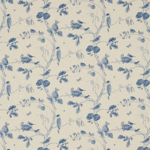 Sanderson Woodland Chorus Indigo/Linen Fabric 225510