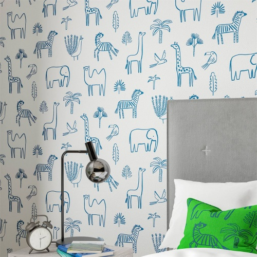 Harlequin Funky Jungle Navy Wallpaper 112630