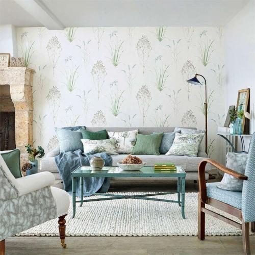Sanderson Farne Grasses Cream/Sage Wallpaper 216486