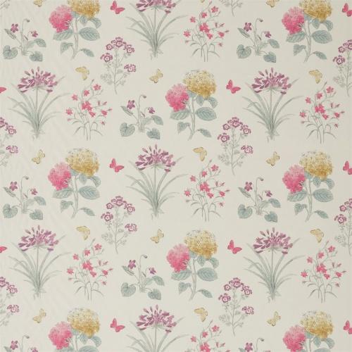 Sanderson Harebells Violets Peony Bayleaf Fabric 225519