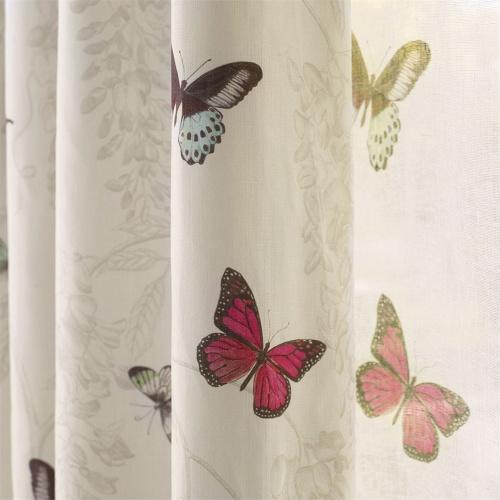 Sanderson Butterfly Voile Fuchsia/Cream Fabric 225512