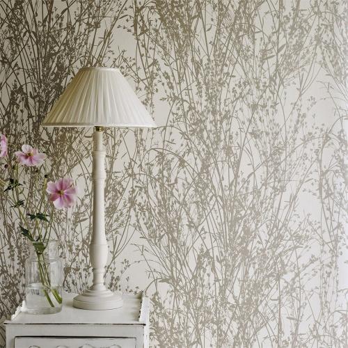 Sanderson Meadow Canvas Gilver/Linen Wallpaper 215693