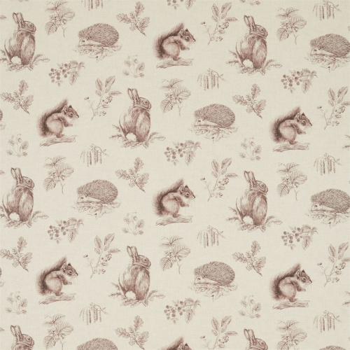 Sanderson Squirrel & Hedgehog Sky Blue/Pebble Fabric 225523