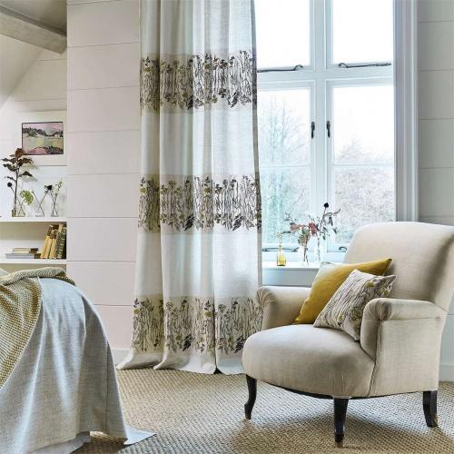 Sanderson Pressed Flower Sable/Corn Curtain Fabric 236555